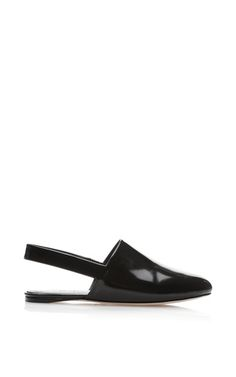 Black Patent Leather Closed Toe Slingback Flats by Rosetta Getty Now Available on Moda Operandi