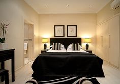 Beaufort Hotel bedroom interior Knightsbridge.  Queen Size bamboo sheets are…