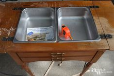 DIY ~ Upcycled Repurposed Sewing Table To Drink Station ~ Ambient Wares Old Sewing Machine Table, Old Sewing Tables, Old Sewing Machines, Upcycled Furniture Before And After, Repurposed Furniture, Furniture Projects, Diy Furniture, Painted Furniture, Furniture Makeover