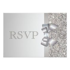 Silver Wedding Glitter Invitations Silver Sequins, Bow & Diamond RSVP Wedding Card