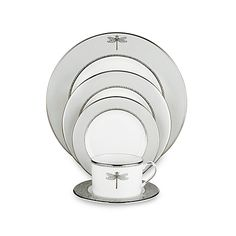 Bring images of breezy summer evenings spent at a seaside summer cottage watching dragonflies dart among the dunes to your table with kate spade new york's elegant and magical June Lane™ Platinum dinnerware.