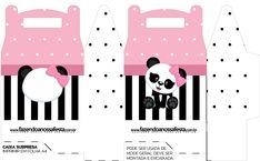 Caixa bombom Panda Rosa Kit Festa totalmente grátis, pronto para personalizar e imprimir em casa. Panda Themed Party, Panda Birthday Party, Panda Party, Bear Party, Panda Decorations, Panda Bebe, Baby Box, Ideas Para Fiestas, Party In A Box