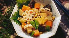 Rezept: Gemüsetopf (Sojabohnen, Shiitakepilze, Kartoffeln, Bambus)