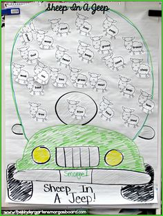 Using the book Sheep In A Jeep to teach EE words. Students will learn to read and write EE words! Using white balloons students can put sheep in a jeep for a fun learning activity! Kindergarten Language Arts, Kindergarten Activities, Journeys Kindergarten, Preschool Farm, Abc Phonics, Teaching Phonics, Rhyming Activities, Book Activities, Ee Words