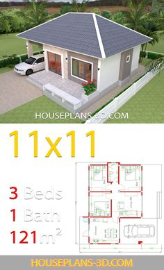 Simple House Design Plans 1111 with 3 Bedrooms Full Plans House Plans Small House Layout, Modern Small House Design, Simple House Design, Contemporary House Plans, House Layouts, 3d House Plans, Simple House Plans, Beautiful House Plans, Home Design Floor Plans