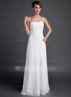 [NZ$ 156.34] Sheath/Column Sweetheart Sweep Train Chiffon Wedding Dress With Ruffle