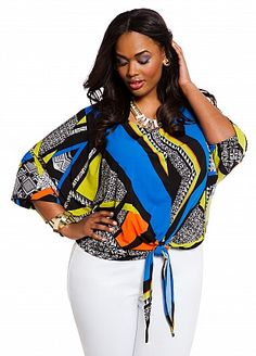 Ashley Stewart: Web Exclusive: Abstract Print Tie Front Top