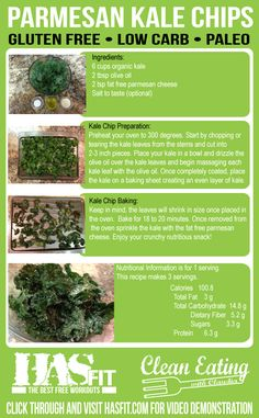 The parmesan baked kale chips recipe is a crunchy, healthy snack and a great replacement for regular chips. Kale recipes are high in protein and high in fiber. The kale chip recipe and vegetarian recipe is easy to make and only requires 3 ingredients!