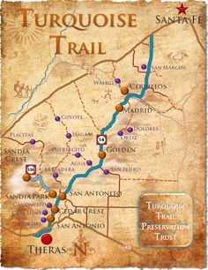 turquoise trail towns nm | TTPT Turquiouse Trail Map (w/Towns, Villages & Ghost Towns)