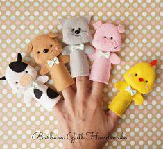 "Pacynki na palce -kolekcja ""Wiejska "" / Finger puppets -""Country "" collection Felt Puppets, Puppets For Kids, Felt Finger Puppets, Felt Patterns, Stuffed Toys Patterns, Cute Crafts, Felt Crafts, Felt Dolls, Paper Dolls"