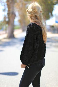 nice sweater!  and hair!