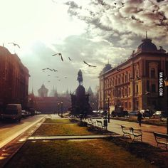 Unreal moment on Cracow, Poland