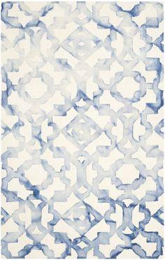Dip Dye Ivory/Blue Area Rug