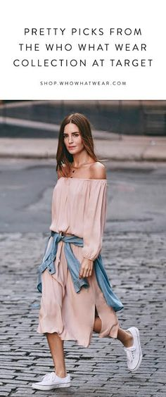 Gala Gonzalez in an off-the-shoulder pink dress, denim shirt tied around the waist and white sneakers