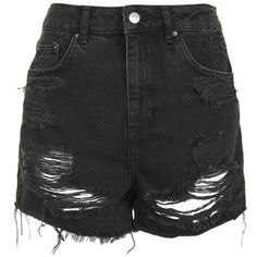 Women's Topshop Ripped Mom Shorts (1.010 ARS) ❤ liked on Polyvore featuring shorts, bottoms, pants, black, momma, high waisted shorts, high rise shorts, high-waisted denim shorts, distressed denim shorts and distressed high waisted shorts