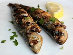 Grilled Sardines w/ Lemon, Garlic, Paprika, SeriousEats Fish Dishes, Seafood Dishes, Fish And Seafood, Seafood Recipes, Tapas Recipes, Grilled Fish Recipes, Grilling Recipes, Cooking Recipes, Diet Recipes