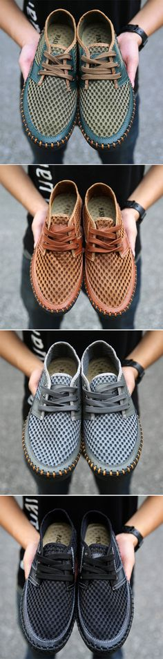 Big Size For Men Leather Mesh Breathable Lace Up Flat Casual Sport Shoes