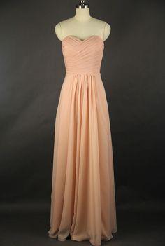 Sweetheart Bridesmaid Dress, A-line Sweetheart Floor-length Chiffon Bridesmaid Dress. $99.00, via Etsy.