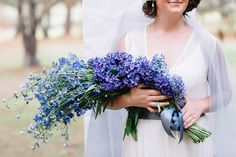 Absolutely Lovely Arm Sheaf/Presentation Wedding Bouquet Arranged With: Blue Delphinium, Blue Hyacinth + Purple Hyacinth~~ Long Stem Flowers, Flowers In Hair, Colorful Flowers, Purple Flowers, Flower Colour, Wedding Arms, Ugly Wedding Dress, Wedding Stuff, Wedding Dresses