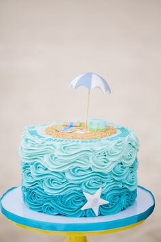 Colorful Seaside Birthday Party in 2020 Ocean Birthday Cakes, Ocean Cakes, Beautiful Birthday Cakes, Themed Birthday Cakes, Happy Birthday, Birthday Greetings, Birthday Ideas, Birthday Cards, Little Girl Birthday Cakes