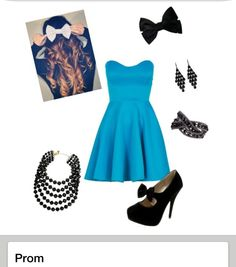 This would be my prom outfit. I would wear the black bow not white one. :)