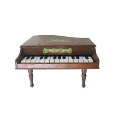 Antique Children's Brown Wooden Grand Piano Musical Toy