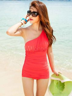 Red Artwork Polyester Pleated Women's One Piece Swimwear @Alisha Sopota Sopota Sopota Sopota Sopota Bunker