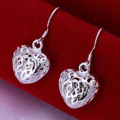 Women's Silver Plated Heart Drop Earrings 925 Silver
