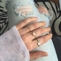 Mini Opal Arc Ring - local eclectic  - 7