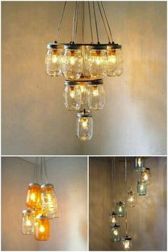 DIY chandeliers made from (ever-popular) mason jars. Mason Jar Chandelier, Diy Chandelier, Mason Jar Lighting, Mason Jar Projects, Mason Jar Crafts, Mason Jar Diy, Diy Luminaire, Diy Lampe, Cool Diy