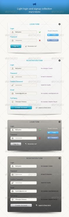 Light Login and Signup Collection  #GraphicRiver         Light login and signup collection. 2 color variations. Clean and beautiful design. Suitable for any website.   PSD : Very organize group names and layer names. All designs are made it with smart shapes and vector shape. You can easy edit to customize size, colors and gradients.     Created: 14April13 GraphicsFilesIncluded: PhotoshopPSD #JPGImage HighResolution: Yes Layered: Yes MinimumAdobeCSVersion: CS3 PixelDimensions: 560x1850…
