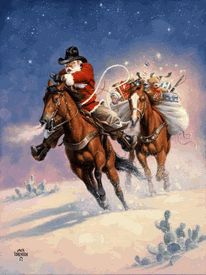 """""""SANTA'S BIG RIDE"""" by Jack Sorenson Look at the horses. They trust Santa, but they sure are keeping a close eye on that weird bundle on the back of the second horse! See the ears? Thank you, Jack Sorenson Fine Art, Inc. Christmas Scenes, Noel Christmas, Father Christmas, Christmas Pictures, Xmas, Western Christmas, Country Christmas, Vintage Christmas, Natal Country"""