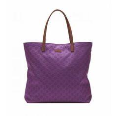 New Gucci Purple Guccissima Nylon Tote Large Sporty Travel Bag
