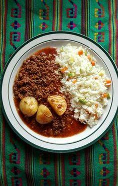 Carne molida al achiote con papas Mexican Food Recipes, Diet Recipes, Cooking Recipes, Vegetable Lasagna Recipes, Achiote, Hamburger Recipes, Best Dishes, Hurtado, Vestidos