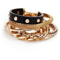 GUESS Black and Gold-Tone Arm Party Bracelet Set ($35) via Polyvore