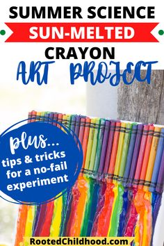 Watch the summer sun melt away crayons for a fantastic summer science project and art project! This post has all the details on how to set yourself up for success for a no-fail experiment!