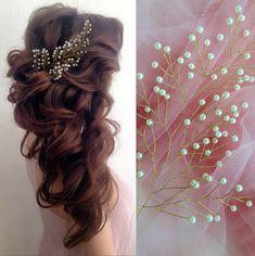 Pearl Gold bridal hair piece Baby breath hair vine Bohemian