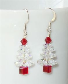 Swarovski Crystal AB and Siam Red Christmas Tree Earrings. Fun and festive!