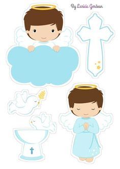 Cute Little Angel Praying Free Printable Cake Toppers for First Communion. Here you have some Free Printable Cake Toppers for yo. Boy Baptism Centerpieces, Baptism Party Decorations, Shower Centerpieces, Balloon Decorations, Première Communion, Baby Boy Christening, Baby Boy Themes, Baby Posters, Polka Dot Background
