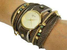 Unique Women's Watch in Brown Leather Colors And Blank Plate-Women Watches-Watch-Women's Watches-Wrap Watches-Wrap Watch-Ladies Watch