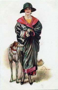 Art Deco Rule When in doubt, add a Borzoi. Pinturas Art Deco, Art Nouveau, Art Deco Paintings, Greyhound Art, Fashion Illustration Vintage, Girly Drawings, Vintage Art Prints, Vintage Dog, Art Deco Design