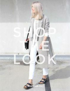 Weiß und Weiß mit viel Weiß: Wir kombinieren Jeans, T-Shirt mit Netzmuster und Blazer. Mantel, Tasche und Schuhe tanzen dabei aus der Reihe. Hier entdecken und kaufen: http://sturbock.me/qcf