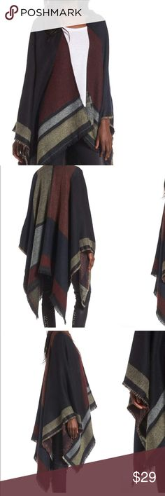 "Multi Colored Cape DETAILS & CARE Moody stripes pattern the frayed edges of a cozy cape that's perfect for wrapping up on crisp fall days or long flights. 54"" x 60"" No closure 100% acrylic Hand wash, dry flat Sweaters"