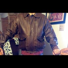 Cowhide Leather Bomber Jacket Genuine waterproof cowhide leather bomber jacket tag says large but fits like a XL in excellent condition.. Timberland Jackets & Coats