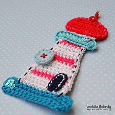 Crochet lighthouse appliqué pattern DIY by VendulkaM on Etsy