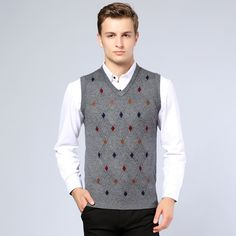 2016 New Arrival Mens Sweater Fashion Argyle Sleeveless Cashmere Sweater Male Casual V- Neck Pullover Wool Sweater Vest