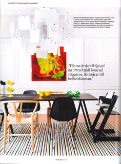 Uman rug by Lena Bergström for Design House Stockholm in Plaza Interiör magazine. Table from Hay. Chair by Hans Wegner & Eames. Zettel'z 5 lamp by Ingo Maurer. Bowl from Muuto. Candlesticks from Gallery Pascale. Painting by artist Tomas Olsson.