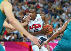 Kevin Durant of the United States made 4 3-point shots (of 9 overall) and had 14 points against Australia, which kept the game close into the third quarter. #london2012
