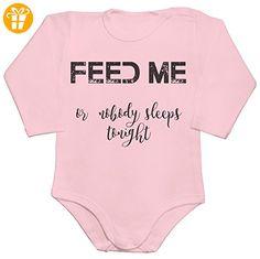 Feed Me Or Nobody Sleeps Tonight Baby Romper Long Sleeve Bodysuit Small - Baby bodys baby einteiler baby stampler (*Partner-Link)