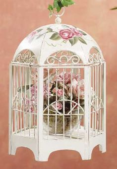 Image detail for -shabby elegance bird cage hand painted roses add color Romantic Shabby Chic, Shabby Chic Cottage, Vintage Shabby Chic, Shabby Chic Decor, Cheap Bird Cages, Decorative Bird Houses, Beautiful Birds, Kitsch, Mint